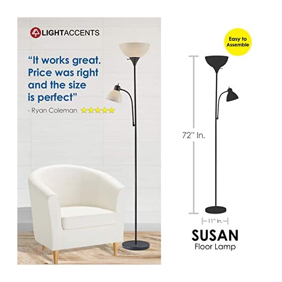 """Adjustable Floor Lamp with Reading Light by Light Accents - Susan Modern Standing Lamp for Living Room/Office Lamp 72"""" Tall - 150-watt with Side Reading Light Corner Lamp (Black) - Incandescent torchiere floor lamp for small- to medium-size rooms. Great as a dorm room floor lamp, floor lamps for bedrooms, floor lamp for living rooms. Sleek Black-painted finish with a gently curved white-frosted plastic shade Fully Adjustable Side Reading light, Use as a kids floor lamp floor lamps for bedrooms - living-room-decor, living-room, floor-lamps - 41 h9XPMlWL. SS570  -"""