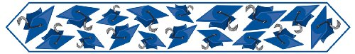 Printed Grad Cap Table Runner (blue) Party Accessory  (1 count) (1/Pkg)