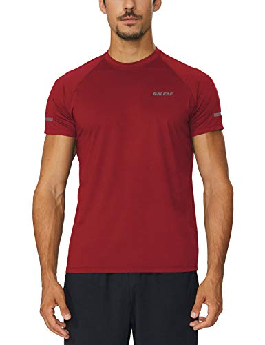 Baleaf Men s Quick Dry Short Sleeve T-Shirt Running Fitness Shirts Red Size  M d6b607fdd