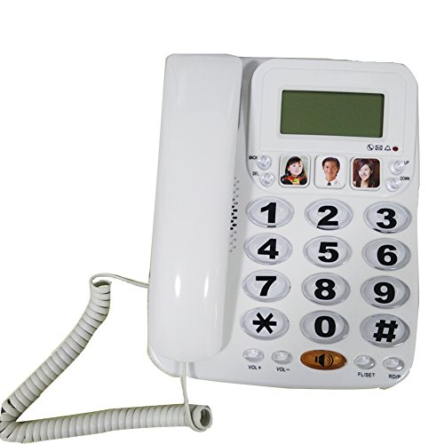 HePesTer P-29W Big button Picture Phone for Elderly Works in Power Outage for Emergency(White) (Big Button Picture Phone)