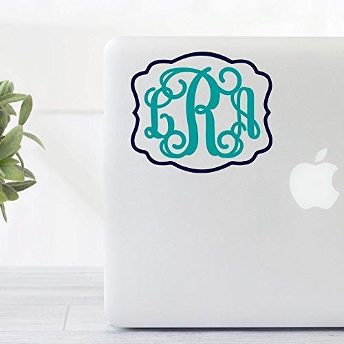 Framed Border Vine Monogram Decal Sticker For Yeti Tumblers, MacBooks, Etc.