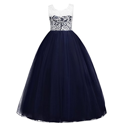 (5-16T Little Big Girls Floor Length Lace Tulle Bridesmaid Dress Flower Wedding Pageant Party Prom Long Maxi Evening Dance Gown Navy)