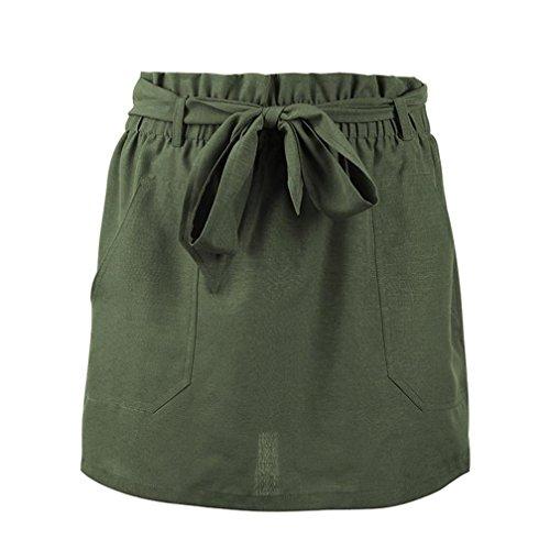Haute Mini avec Couleur Verte Coton Cinq Arme Jupe Lin Poches lastique Taille Pure Sixcup gTZqApxqw