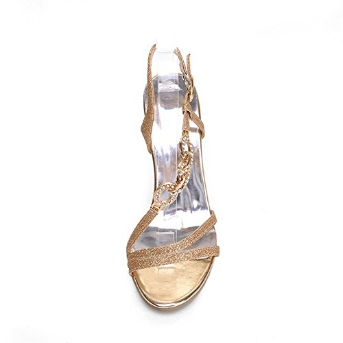 Amoonyfashion Mujeres Material Suave Punta Abierta Puntas Stilettos Hebilla Sandalias Sólidas Oro
