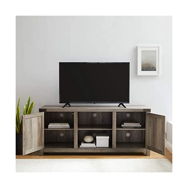 New 58 Inch Wide Barn Door Television Stand in Grey Wash Finish