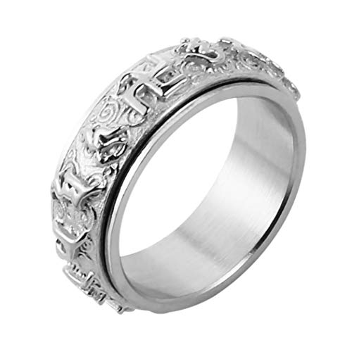 HZMAN Men's Women's Tibetan Buddhist Mantra Om Mani Padme Hum 8MM Stainless Steel Spinner Ring Wedding Band (Silver, - Om Mantra Ring Mani