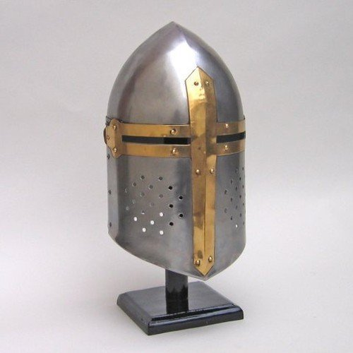 Deco 79 Metal Crusader Helmet Can Be Clubbed with Small Decorative Items - Knights Templar Helmet