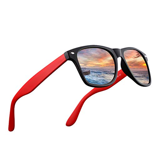 LR Polarized 80's Retro Classic Trendy Stylish Sunglasses for Men Women 53mm NCS004 (Matt Black/Red) (Orange Frames Gradient)