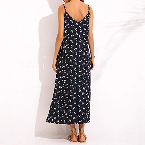 Beach Long V NREALY Summer Navy Strappy Loose Neck Falda Dress Pocket Maxi Womens Casual Dress q7wUB7P
