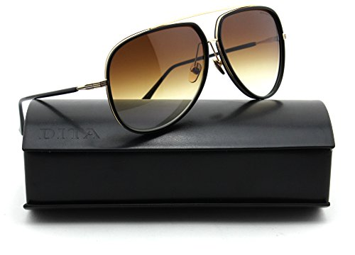 Dita CONDOR TWO 12K Gold w/Black Frame Unisex Sunglasses - Dita Gold Sunglasses