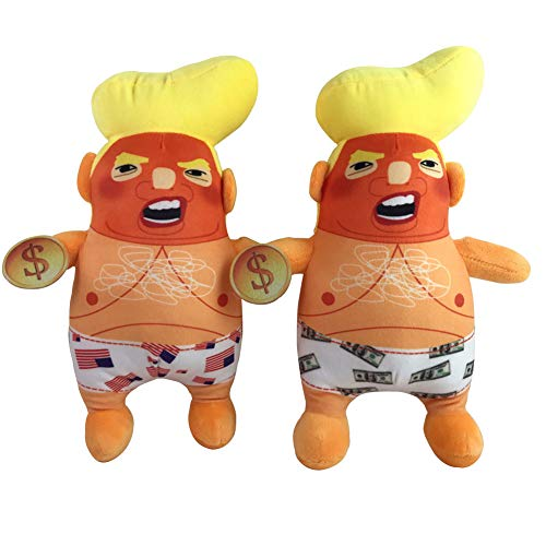 Smartcoco Funny Baby Trump Plush Doll with American Flag or Dollars Pants Collectible President Donald Trump Soft Squeeze Toys Novelty Gift for Kids Adult Stress Relief, Set of 2