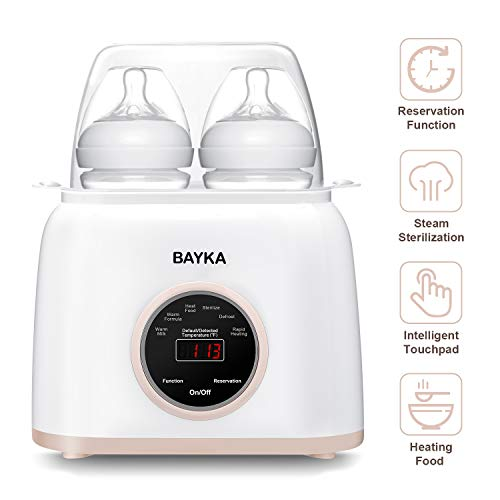 Bottle Warmer , BAYKA 6-in-1 Baby Bottle Warmer with Rapid Heating Warm Milk Formula Heat Food Defrost, Real-time Temperature Accurate Temperature Control Fit Most Brands Baby Bottles