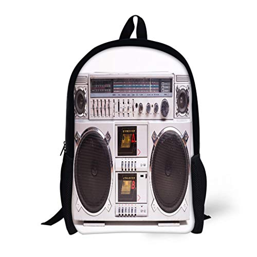 Pinbeam Backpack Travel Daypack Front View of Vintage Boom Box Cassette Tape Waterproof School Bag ()
