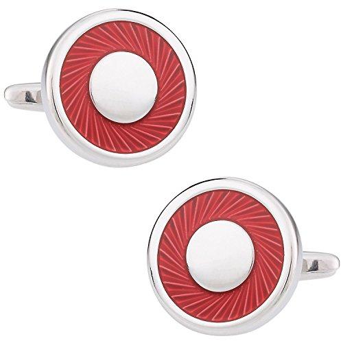 Cuff-Daddy Unique Red Enamel Swirl Silver Cufflinks with Presentation Box