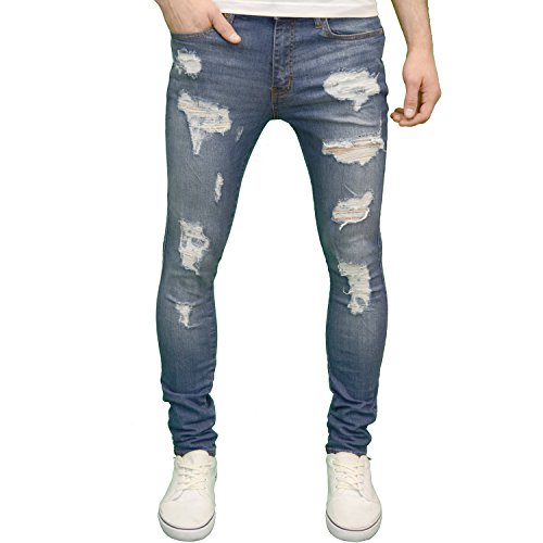 526 Mens Designer Stretch Super Skinny Ripped Abraised Distressed Jeans Stonewash 30W x 32L