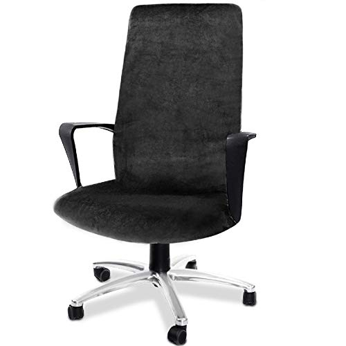 CAVEEN Computer Office Chair Cover Stretch Velvet Fabric Rotating Chair Slipcovers Removable Washable Anti-dust Chair Seat Covers Furniture Protector Covers Black Large