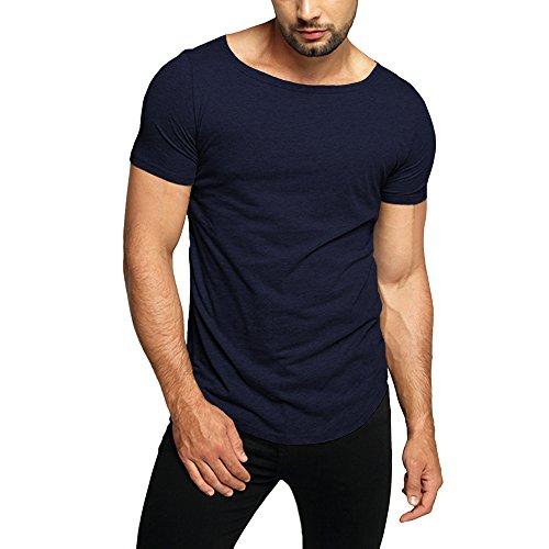 OA Men's Super Longline Loose Fit Raw Edge Hem Soild T-Shirt Navy Blue L - Edge T-shirt