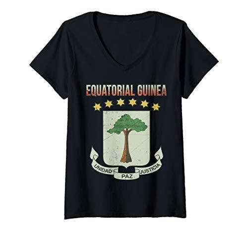 - Womens Equatorial Guinea Emblem Retro-effect Design V-Neck T-Shirt