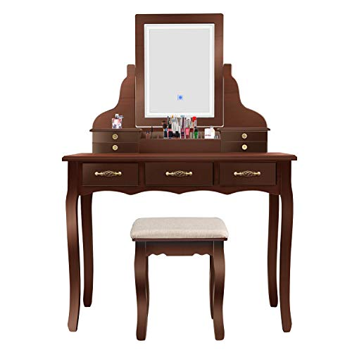 Led Vanity Beauty Station,7 Drawers Makeup Dressing Table with Cushioned Stool Set-Dark Brown