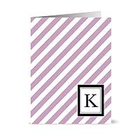 Note Card Café Monogram Lavender 'K' Letter Cards | Grey Envelopes | 24 Pack | Blank Inside, Glossy Finish | Modern Diagonal Stripe Design |Bulk Set | Stationery, Personalized Greeting, Thank You