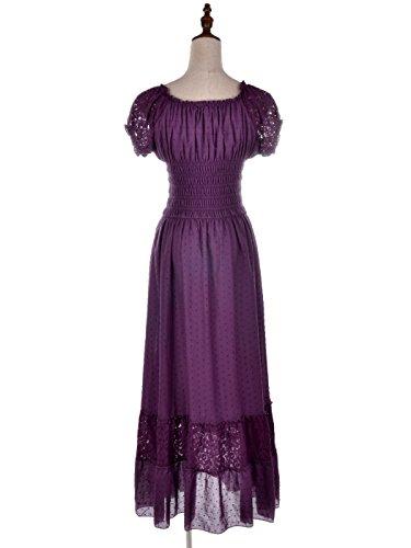 di stile Viola Boho donna vestito in Abito pizzo pizzo smockato Kaci lungamente vestito impero increspato Anna PHgqw