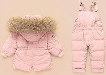 Hayisugar Baby Daunenjacke M/ädchen Schneeanzug Junge Winter Mantel Warm Skianzug Verdickte Winterjacke mit Kapuze K/älteschutz Schneeanz/üge 2tlg Bekleidungsset