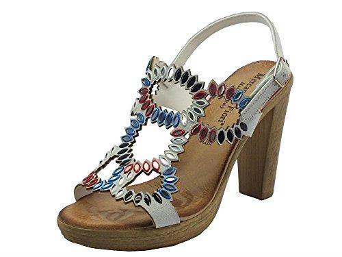 Mercante di Fiori Vmx 45897 Camoscio Bianco - Sandalias de vestir de Piel para mujer Bianco