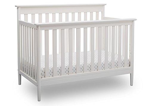 Delta Children Greyson Signature 4-in-1 Convertible Baby Crib, Bianca White (Evolur Aurora 5 In 1 Convertible Crib)