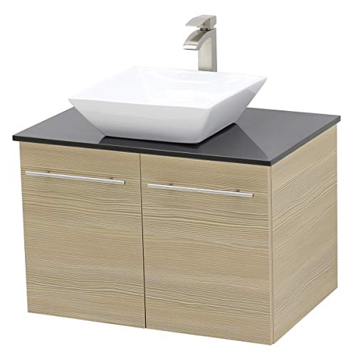 WindBay Wall Mount Floating Bathroom Vanity Sink Set. Tan Vanity, Black Flat Stone Countertop Ceramic Sink - - Mount Wall Beige Sink