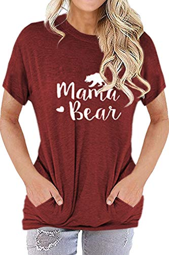 Pink Queen Women Short Sleeve Mama Bear Shirt Casual Pullover Pocket Top Wine Red XL -