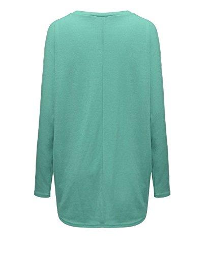 Shirt Moda Invernali Colore T Donna Irregolare Puro Maglietta Collo Casual Autunno Rotondo Pullover Verde Taglie Blusa Larghe Camicie Lunga Ragazze Camicie Eleganti Forti Manica Top RTECq
