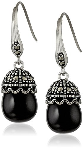 Sterling Silver Genuine Black Onyx and Marcasite Drop Earrings