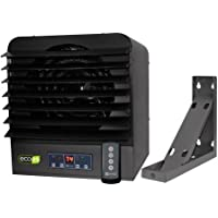 King Electric KB ECO2S Series Unit Heater - 6,000 Watts - 240/208 Volt - Includes Electronic Controller, KBB-2 Wall/Ceiling Bracket & Remote Control - Gray with Black Louvers - LED Display