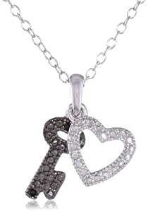 Sterling Silver White and Black Diamond Accent Heart and Key Pendant Necklace (0.03 cttw, H-I Color, I1-I2 Clarity), 18""