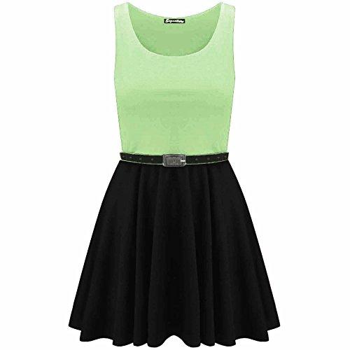 Women Sleeveless Flared Party Ladies Plus Size Skater TOP Dress - 5