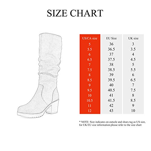 DREAM PAIRS Women's Chunky Heel Knee High Boots