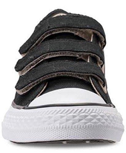 Converse Unisex Chuck Taylor All Star 3 Velcro Oxford, Black/Vintage Khaki/White, 3.5