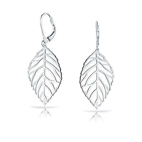 Filigree Leaf Feather Native American Style Dangle Drop Lever Back Earrings For Women 925 Sterling ()
