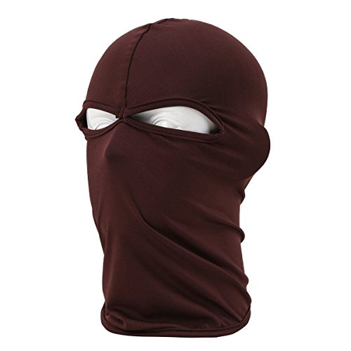 Brown Ski Mask Winter Warm Snowboard Face Mask Bandana Neck Cover 2 Holes