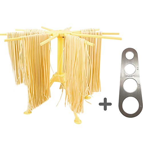 Lanting Foldable Pasta Drying Rack with Stainless Steel Pasta Ruler,Spaghetti/Pasta Drying Rack or Household Noodle Dryer Stander,Compact for Easy Storage,Quick Set-Up,Easy to Cleaning