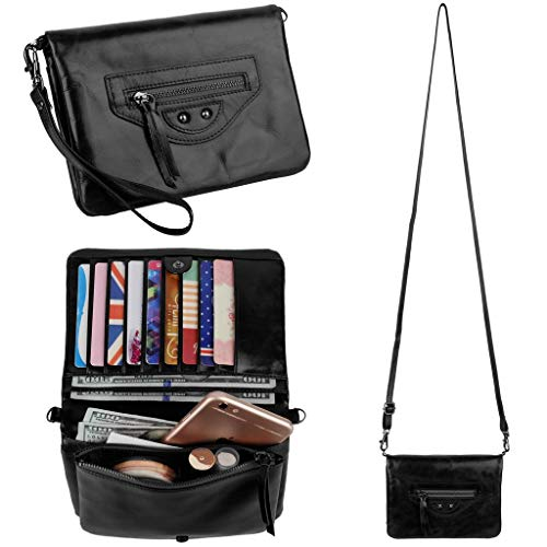 Blocking Multiple Pocket Large Capacity Wristlet Wallet with Shoulder Strap Black ()