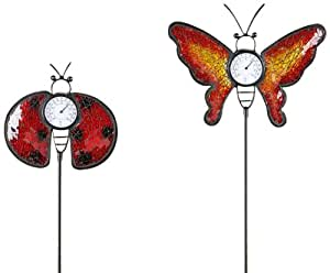 Gift Craft 33.5-Inch Metal and Mosaic Glass Insect Design Double Pronged Garden Stakes with Thermometer, Large, 2-Pack