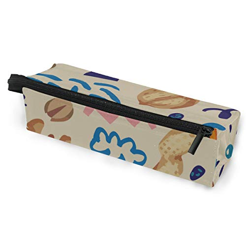 Pen Holder/Stationery Cosmetic Makeup Bag Pouch Round Case Dried Raisins Sweet and Sour Snacks Minimalist Print Polyester Zipper Pencil Bag Multi-Function Glasses Storage Bag