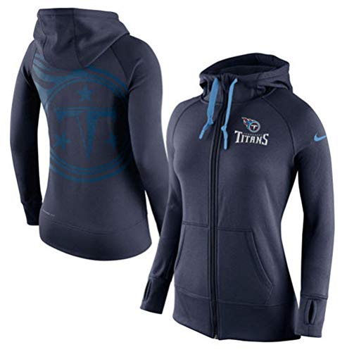 Nike Women's Nike Tennessee Titans Warpspeed Therma Fit Full Zip Performance Hoodie - Navy Blue (Small)