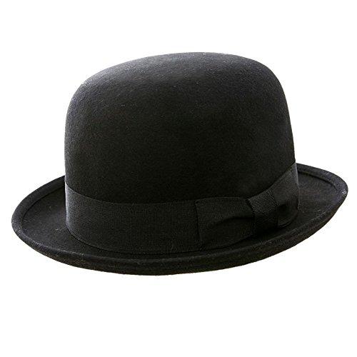 Bowler-Hut, 100% Wollfilz, klassisch, rund, Schwarz schwarz schwarz M