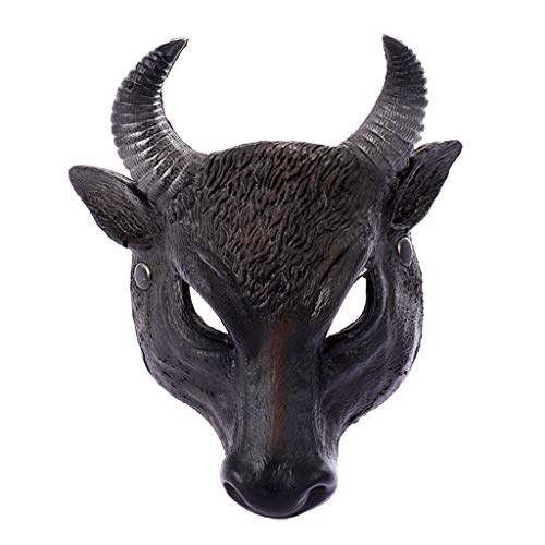 ♆ Realistic PU 3D Bull Head Horror Half Face Mask Animals Cosplay Masks Halloween Party Masque ()