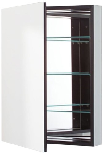 (Robern PLM2430BLE Pl-Series Left-Side Flat Mirror Medicine Cabinet with Outlet, Black)