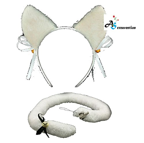 [A&S Creavention Cat Ear Cosplay headband fair accessories for parties events (White Ear Tail Set)] (Cat Ears And Tail Set)