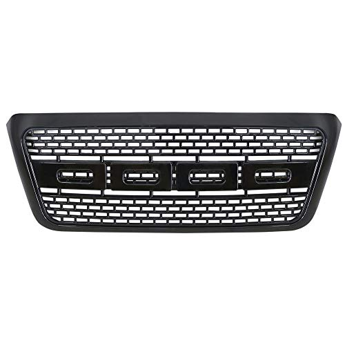 (AA Products Raptor Mesh Style Grille Compatible Ford F150 2004 up to 2008 Front Grill Upper Grille ABS Replacement Gloss Black)