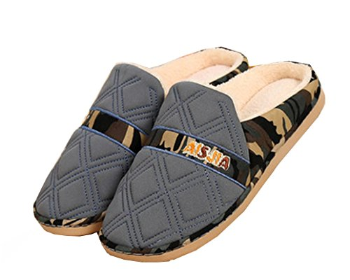 Blubi Hombres Plush Lined Plaid Camo Hombres Zapatillas House Slippers Gris